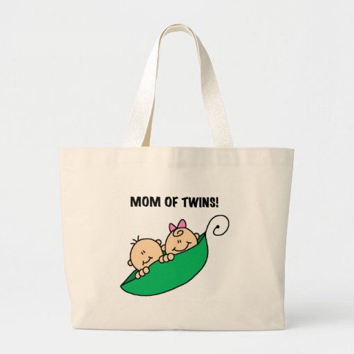 Peas in a Pod Mom of Twins Large Tote Bag