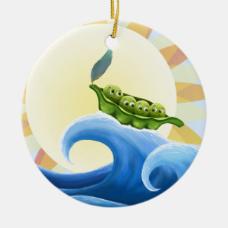 Peas in a Pod on a Wave in the Sun -fun- Ornament