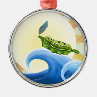 Peas in a Pod on a Wave in the Sun -fun- Christmas Ornament