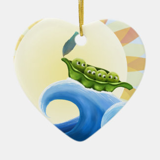 Peas in a Pod on a Wave in the Sun -fun- Christmas Tree Ornament