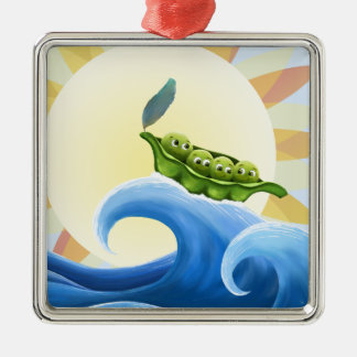 Peas in a Pod on a Wave in the Sun -fun- Christmas Ornaments