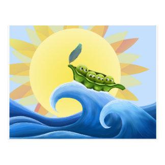Peas in a Pod on a Wave in the Sun -fun- Postcard