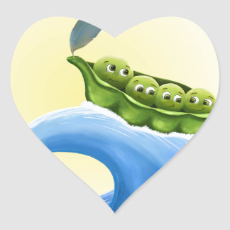 Peas in a Pod on a Wave in the Sun -fun- Heart Sticker