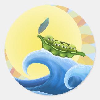 Peas in a Pod on a Wave in the Sun -fun- Sticker