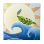 Peas in a Pod on a Wave in the Sun -fun- Ceramic Tile