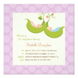 "Peas in a Pod Twin Boy Girl Baby Shower Invitation 5.25"" Square Invitation Card"