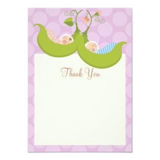 "Peas in a Pod Twin Boy Girl Baby Shower Thank You 4.5"" X 6.25"" Invitation Card"