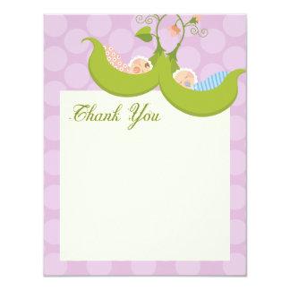 Peas in a Pod Twin Boy Girl Thank You Card