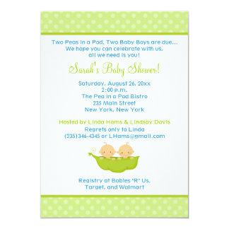 Peas in a Pod Twin Boys 5x7 Baby Shower Invite