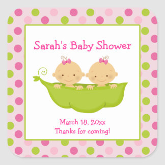 Peas in a Pod Twin Girls Square Favor Sticker