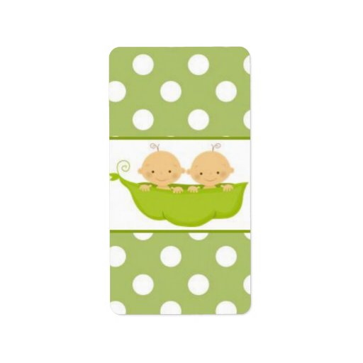 peas in a pod twins baby shower candy wrapper label zazzle