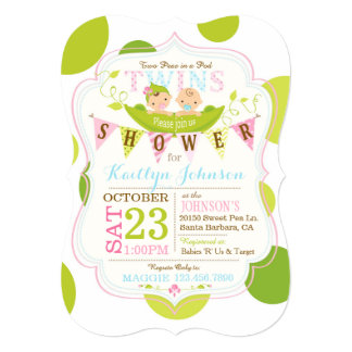 Peas in a Pod Twins Baby Shower Invitation