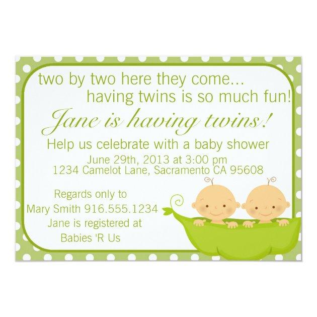 Peas In A Pod Twins Baby Shower Invitation | Zazzle