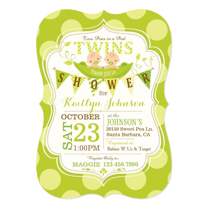 Peas in a Pod Twins Baby Shower Invitation   Zazzle