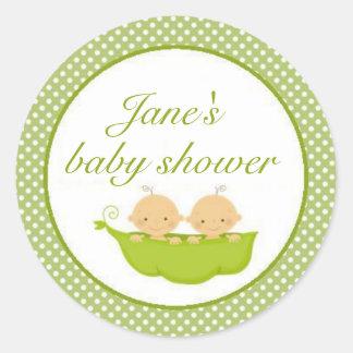 Peas In A Pod Twins Baby Shower Sticker