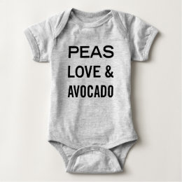 Peas Love and Avocado Food Pun Baby Bodysuit