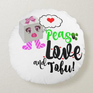 Peas Love and tofu cushion Round Pillow