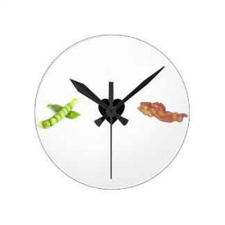 Peas, Love, Bacon Round Clock