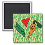 Peas Love Carrots, Cute Green and Orange Design 2 Inch Square Magnet