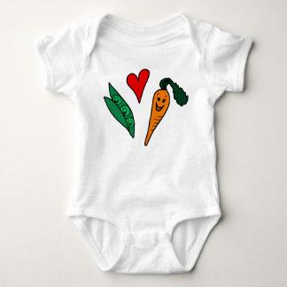 Peas Love Carrots, Cute Green and Orange Design Baby Bodysuit