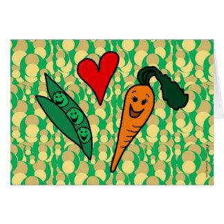 Peas Love Carrots, Cute Green and Orange Design Card