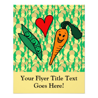 Peas Love Carrots Cute Green and Orange Design Full Color Flyer
