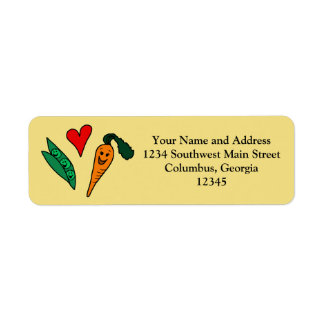 Peas Love Carrots, Cute Green and Orange Design Label