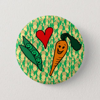 Peas Love Carrots, Cute Green and Orange Design Pinback Button