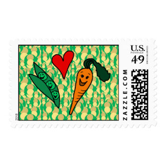 Peas Love Carrots, Cute Green and Orange Design Postage Stamp