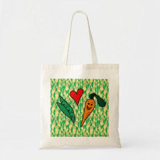 Peas Love Carrots, Cute Green and Orange Design Tote Bag