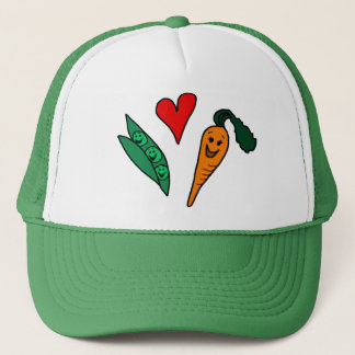 Peas Love Carrots, Cute Green and Orange Design Trucker Hat