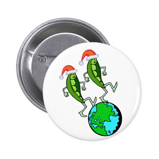 Peas on Earth Holiday Button