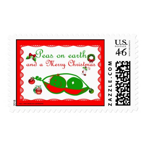 Peas on Earth Merry Christmas funny Christmas Stamps