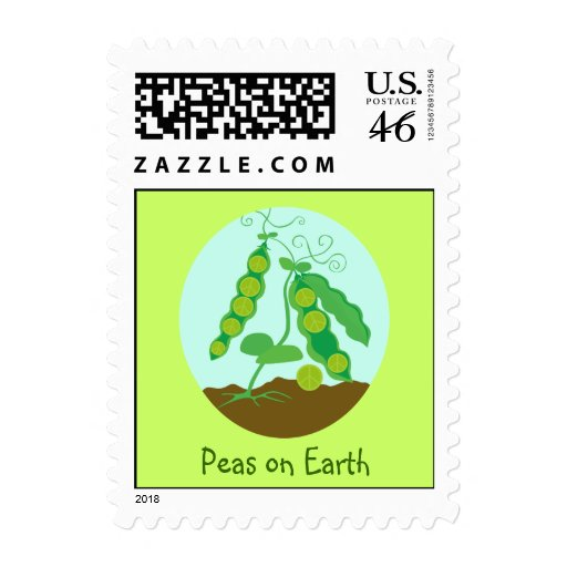 Peas on Earth Postage Stamp