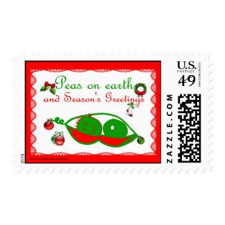 Peas on Earth Seasons Greetings funny Christmas Postage Stamp