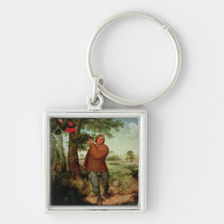 Peasant and Birdnester, 1568 Silver-Colored Square Keychain