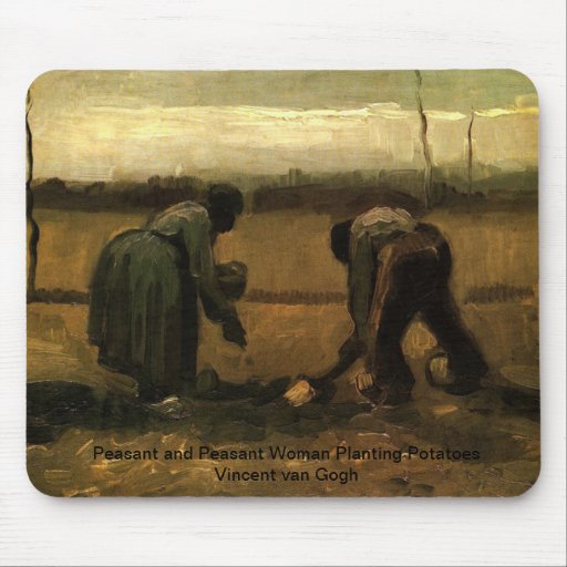 Peasant and Peasant Woman Planting Potatoes Vincen Mouse Pad