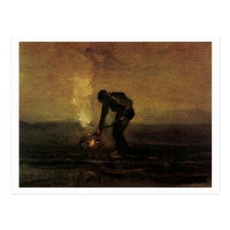 Peasant Burning Weeds, Vincent van Gogh Postcard