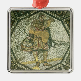 Peasant carrying a ewe and a basket of cheese metal ornament