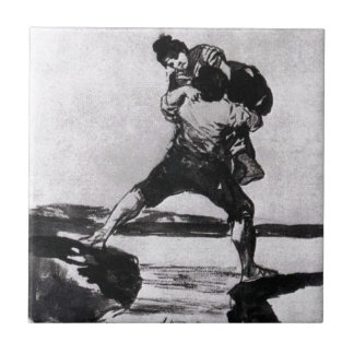 Peasant Carrying a Woman by Francisco Goya Tile
