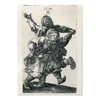 Peasant Couple Dancing by Albrecht Durer, 1514 5x7 Paper Invitation Card