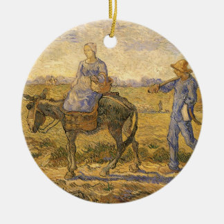 Peasant Couple Going to Work by Vincent van Gogh Ceramic Ornament