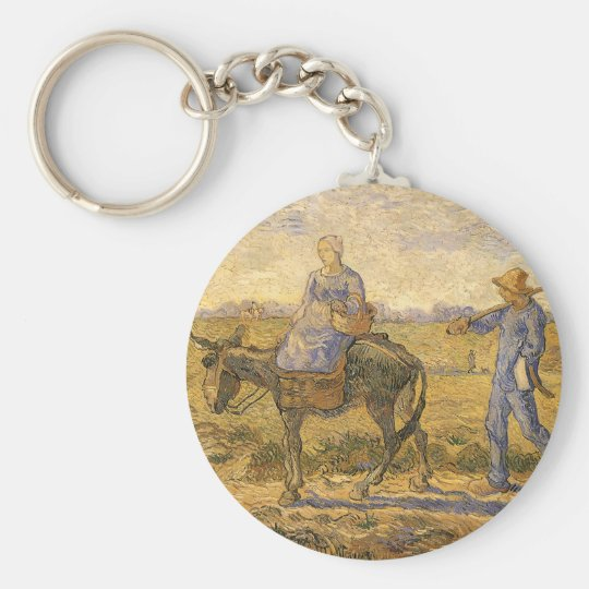 Peasant Couple Going to Work by Vincent van Gogh Keychain
