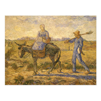 Peasant Couple Going to Work by Vincent van Gogh Postcard