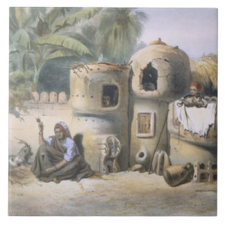 Peasant Dwellings in Upper Egypt, illustration fro Ceramic Tile