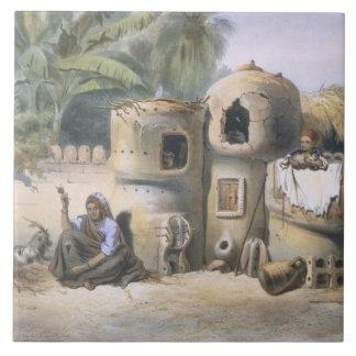 Peasant Dwellings in Upper Egypt, illustration fro Ceramic Tile