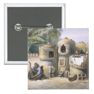 Peasant Dwellings in Upper Egypt, illustration fro Pinback Button