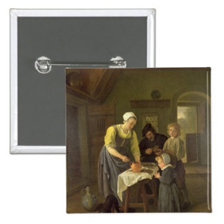 Peasant Family at Meal time, c.1665 2 Inch Square Button