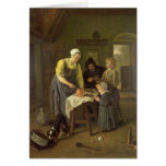 Peasant Family at Meal time, c.1665 Greeting Cards