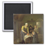Peasant Family at Meal time, c.1665 2 Inch Square Magnet